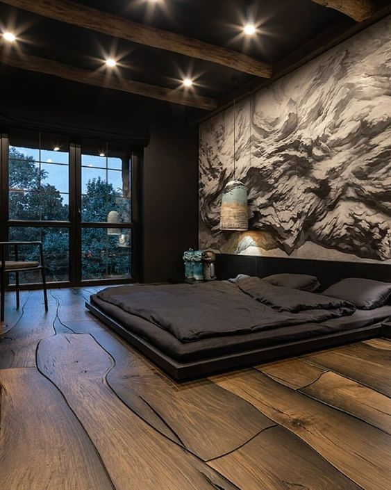 amazing masculine bedroom design in a black house