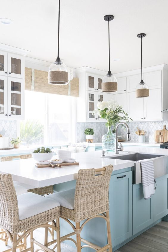 light blue cabinet to evoke nautical kitchen decor