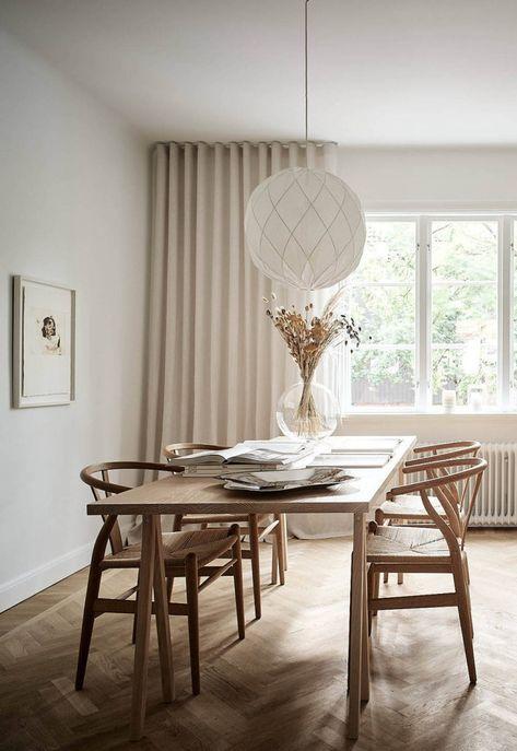 calming Scandinavian dining spot in beige color