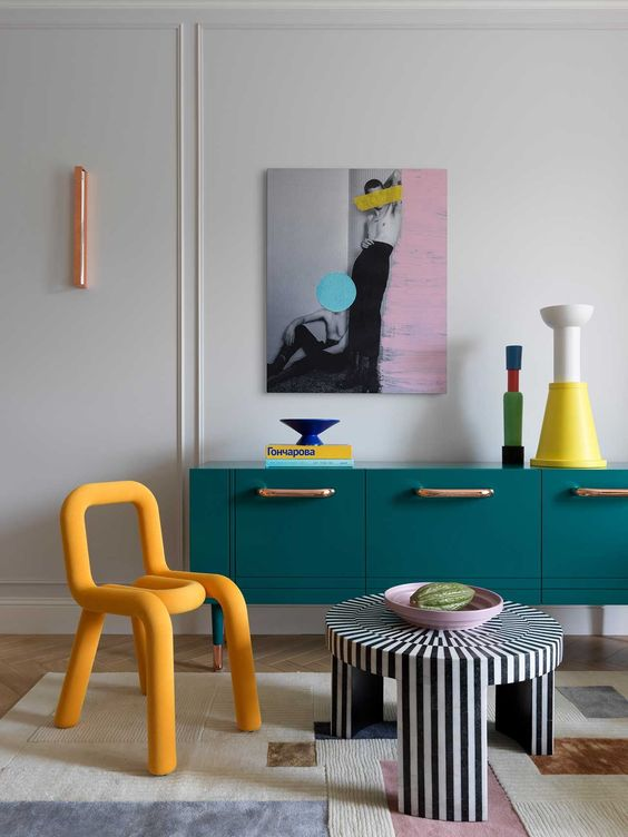 chic colorful eclectic contemporary interior