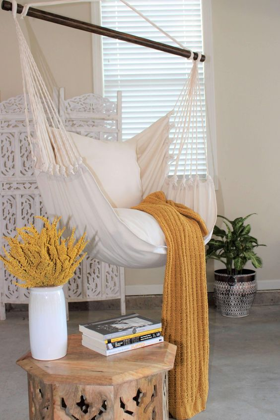 classic hanging hammock for a cozy reading nook