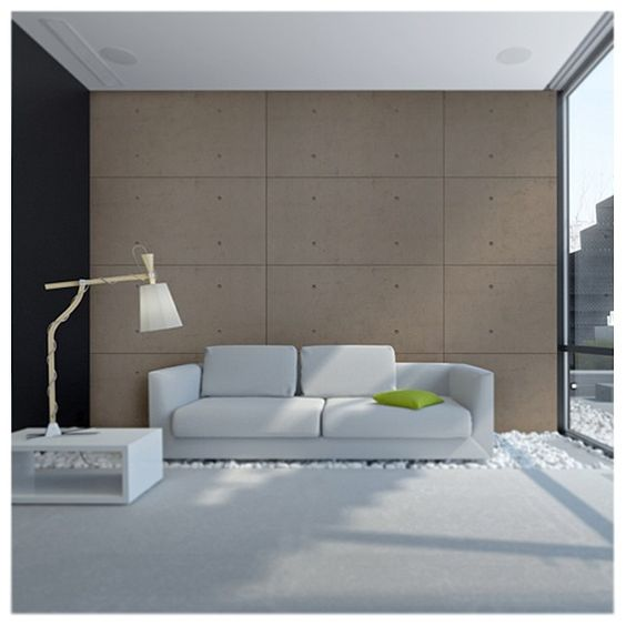 industrial concrete wall panels in minimalist living room