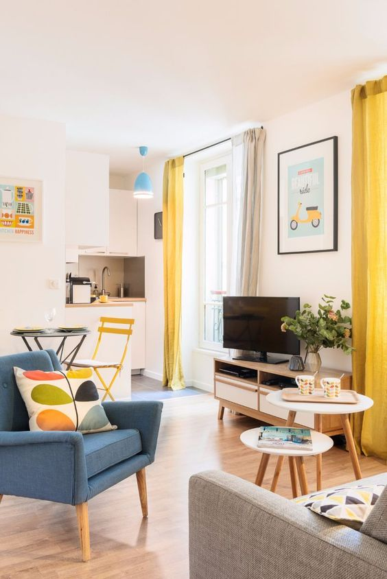 colorful Scandinavian studio apartment