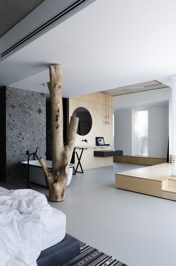 industrial concrete wall in bedroom
