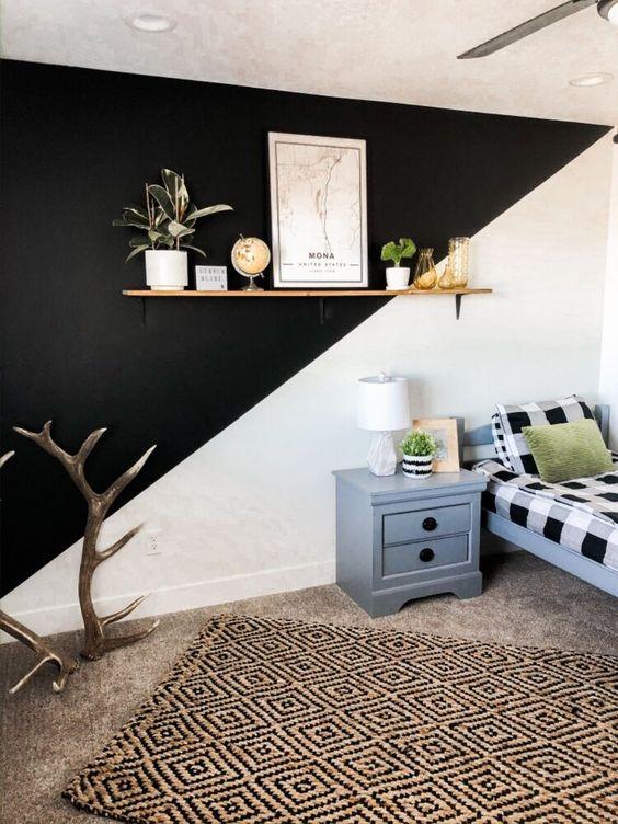 Diagonal accent wall idea