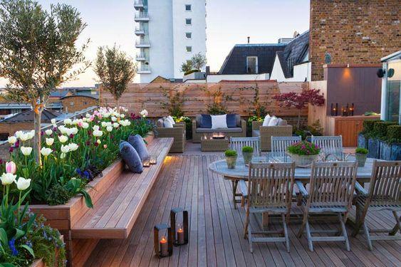 lush dining spot rooftop design idea
