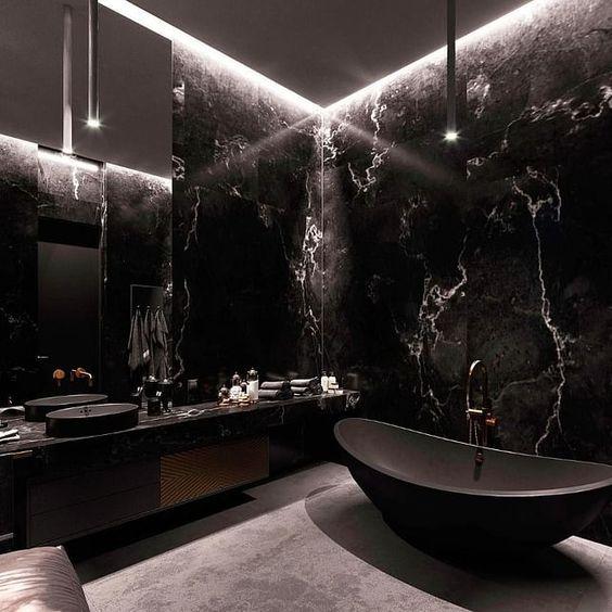 glossy and stylish black marble bathroom