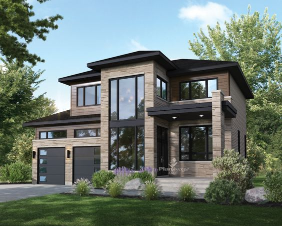 natural slate stone for the exterior of two-storey house ideas