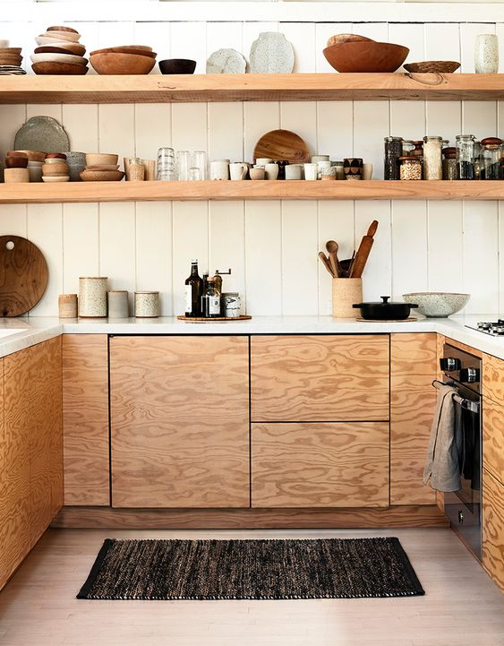 floating shelves give aesthetic to Japanese kitchen