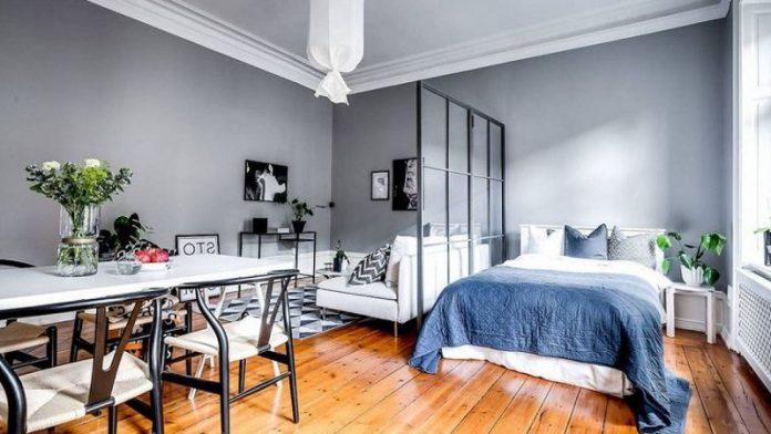 feel cozy in a small Scandinavian studio apartment