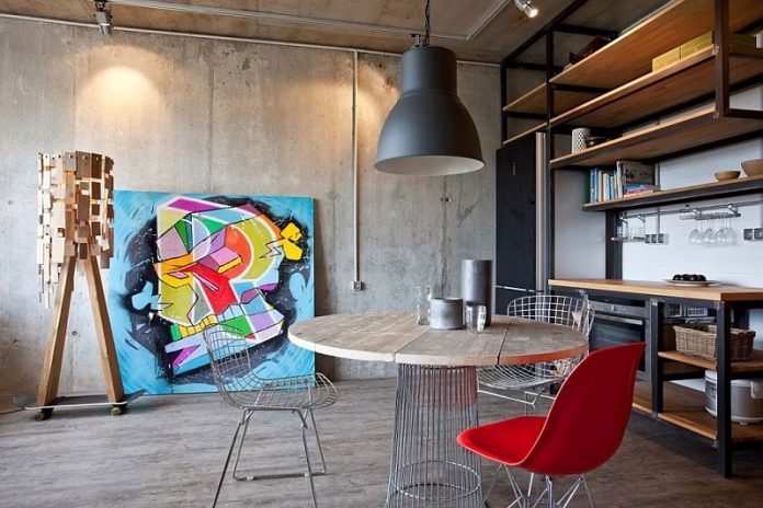 modern interior featuring industrial concrete wall panels