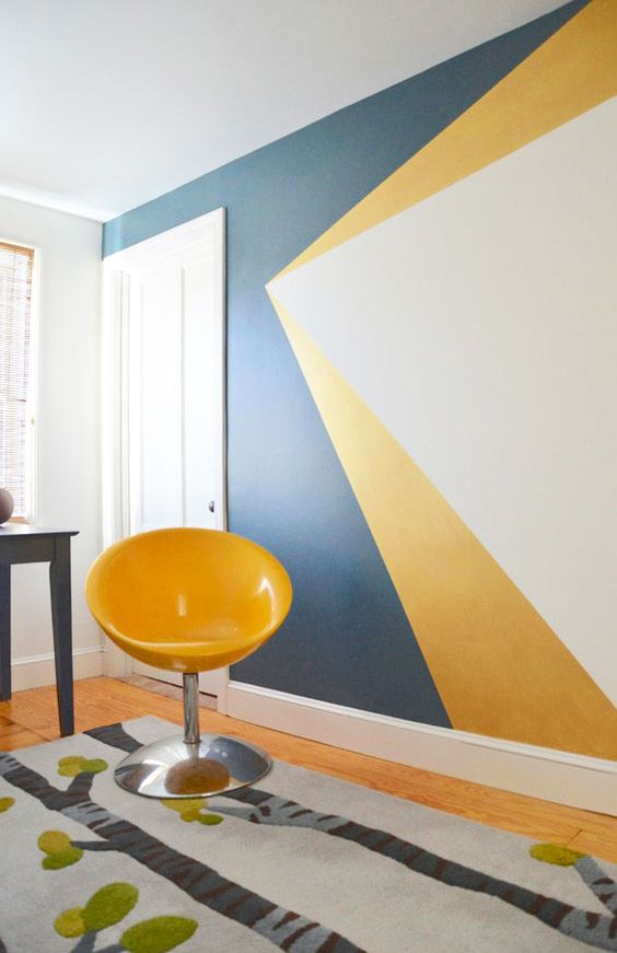 funky geometric accent wall