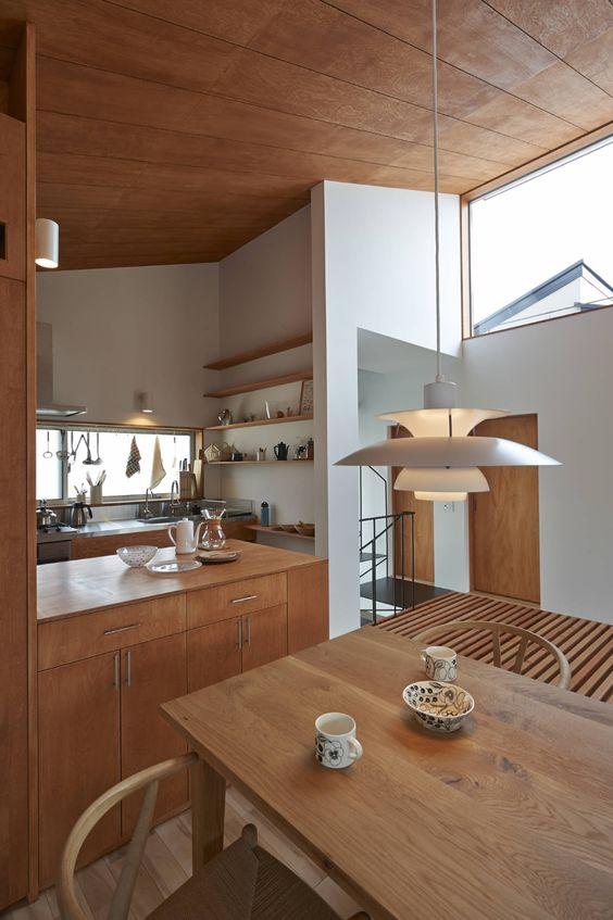 appealing geometric wall Japanese kitchen style