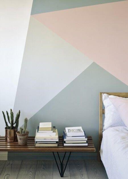 geometric wall in pastel color in Scandinavian bedroom