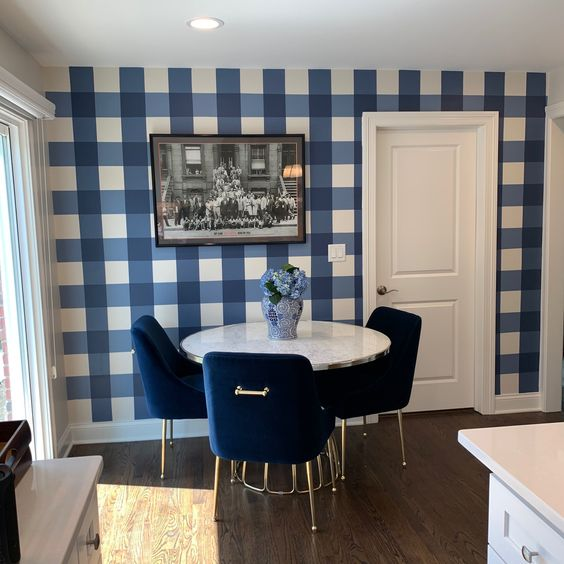 charming gingham accent wall