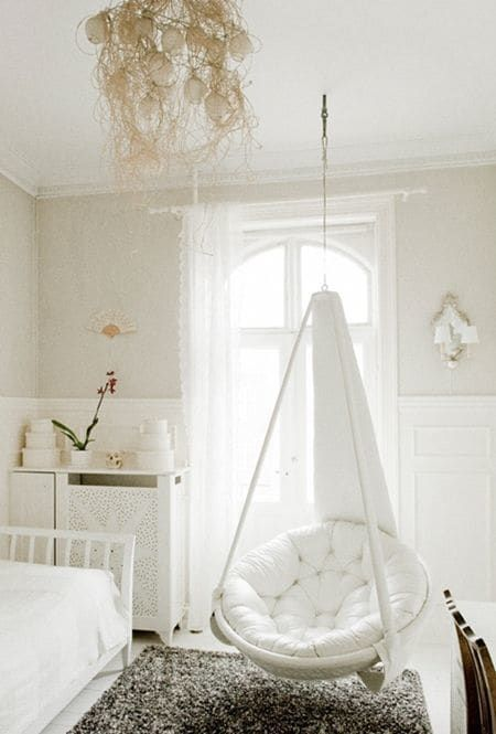 cozy reading nook by installing a hanging chair