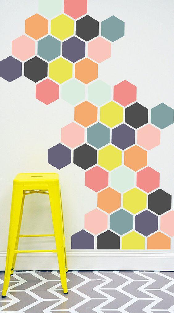 hexagon accent wall