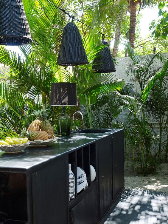 Exotic Black outdoor kitchen