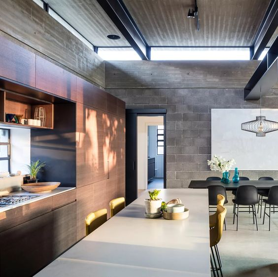 cozy outdoor-indoor concrete room design