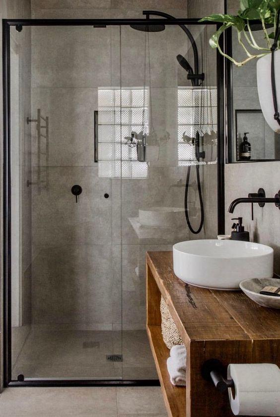 industrial concrete wall panels in bathroom