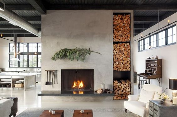 industrial concrete wall design in modern living room