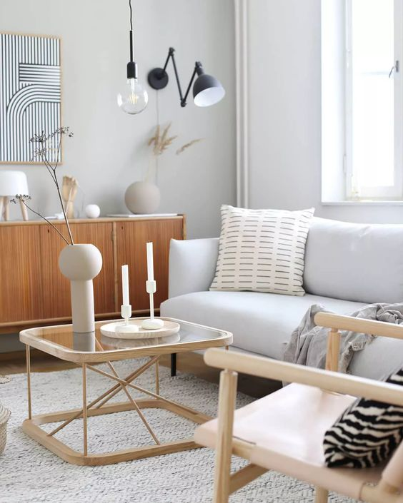 Scandinavian living room with island touch decoration