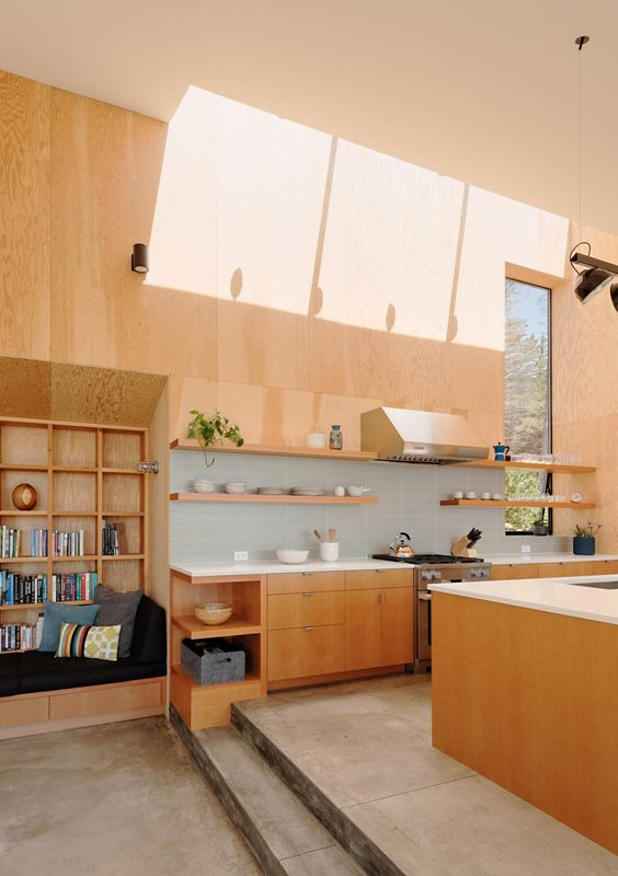 open design Japanese kitchen with reading nook