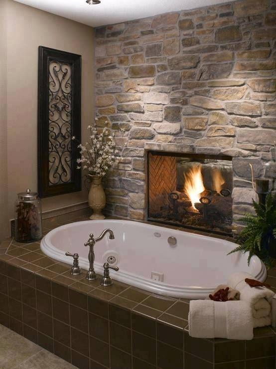luxury bathroom faux stone panel idea