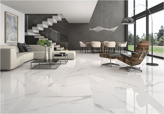 white marble flooring for a spacious and elegant house