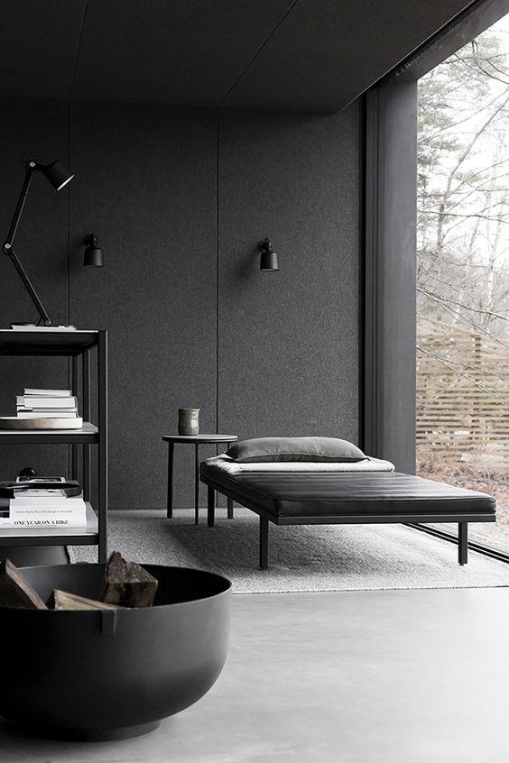 minimalist bedroom in black