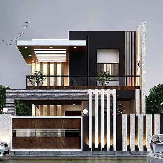 minimalist modern two-storey house exterior