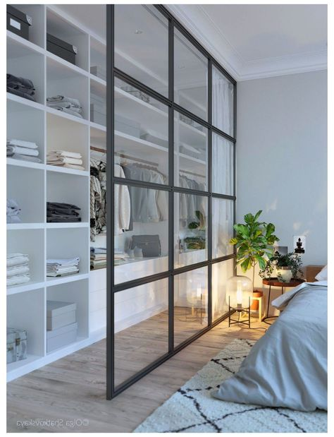 modern Scandinavian bedroom with walk-in wardrobe