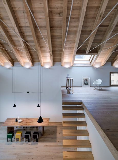 modern decor on industrial interior