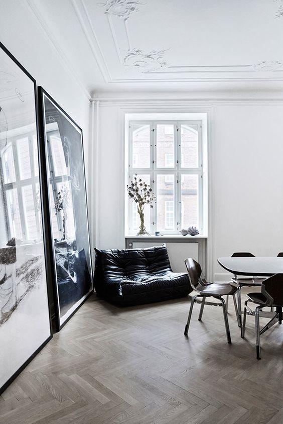 monochrome eclectic interior