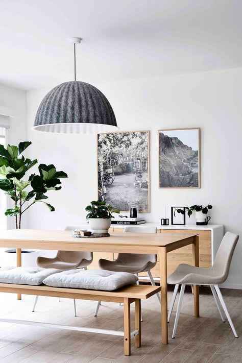 Scandinavian cozy neutral dining room