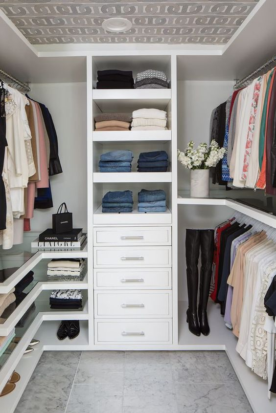 neutral walk-in wardrobe for small apartment
