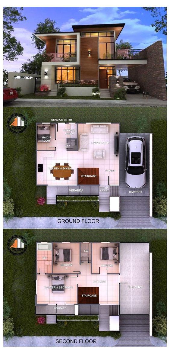 open plan two-storey house design