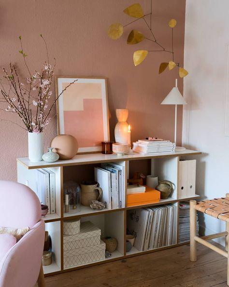 lovely decoration in pink pastel Scandinavian room