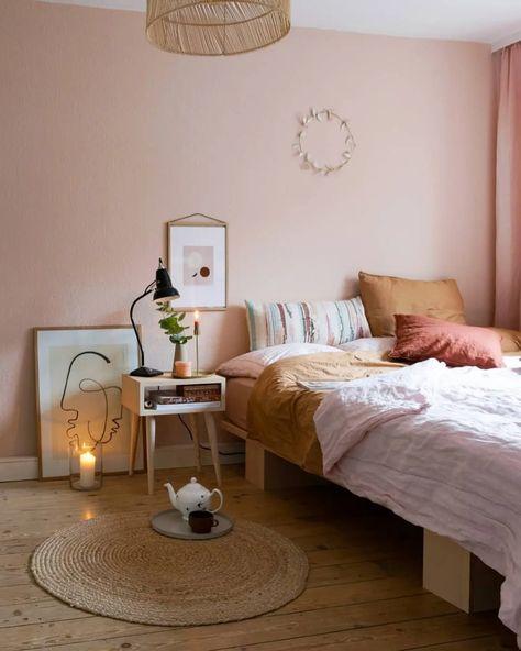 cute pink pastel Scandinavian bedroom