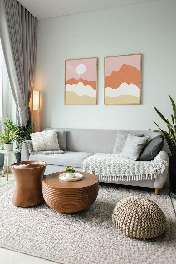 Scandinavian living room with wall art