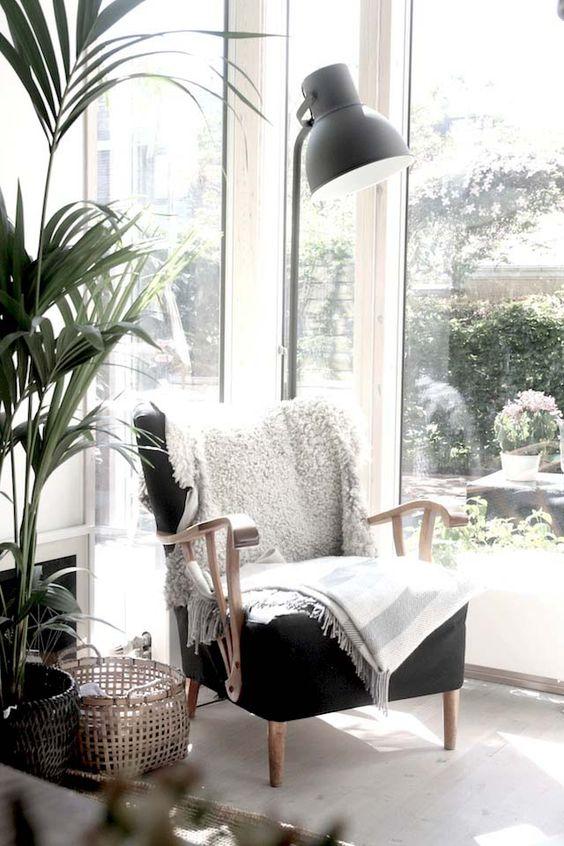 cozy reading nook in Scandinavian living room