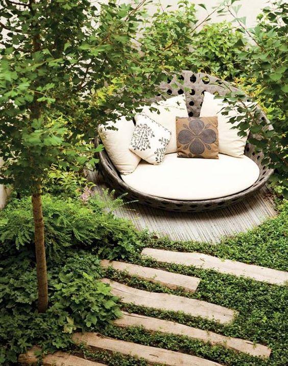 amazing reading nook on a patio garden