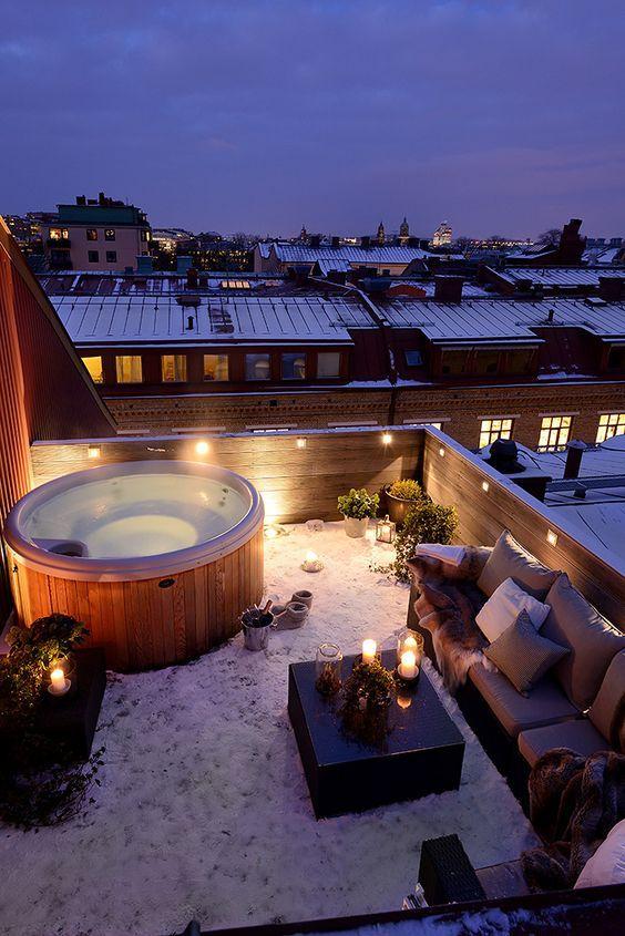 bathtub rooftop design idea