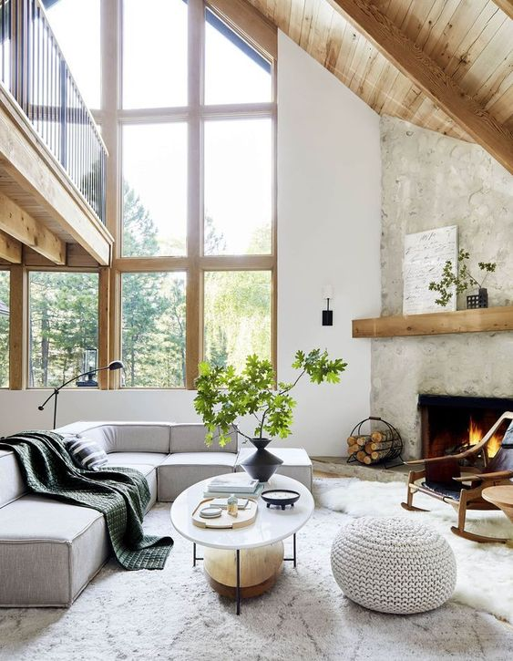 Scandinavian living room blend with industrial style