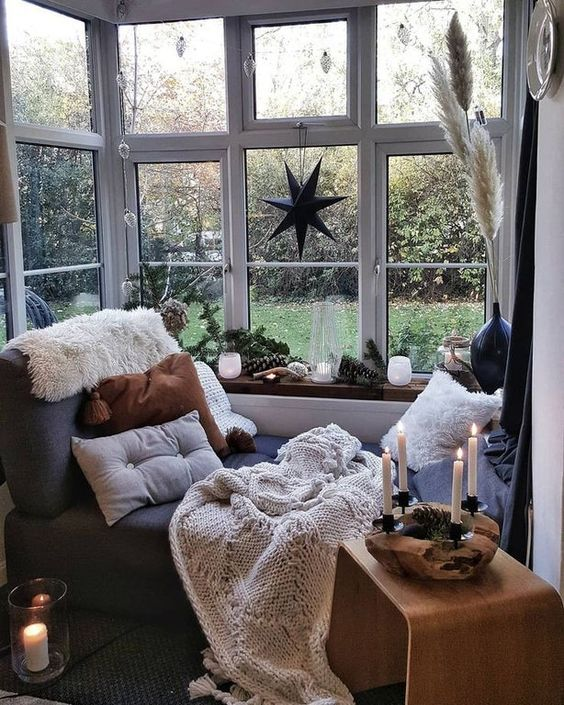 private reading nook with a garden view