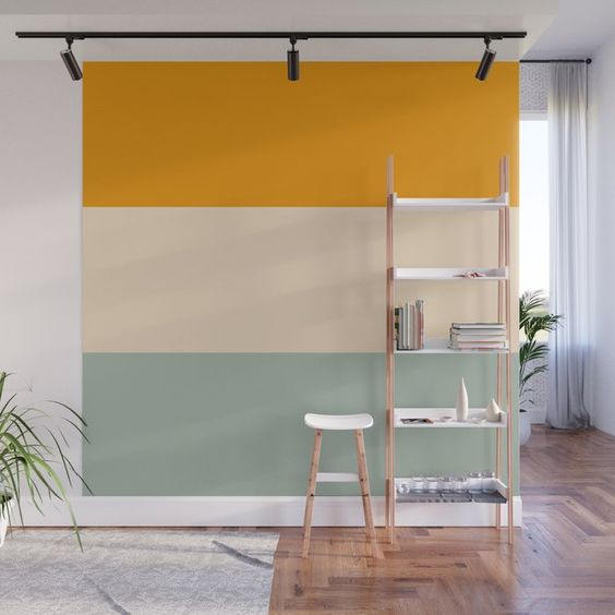 tropical painted accent wall