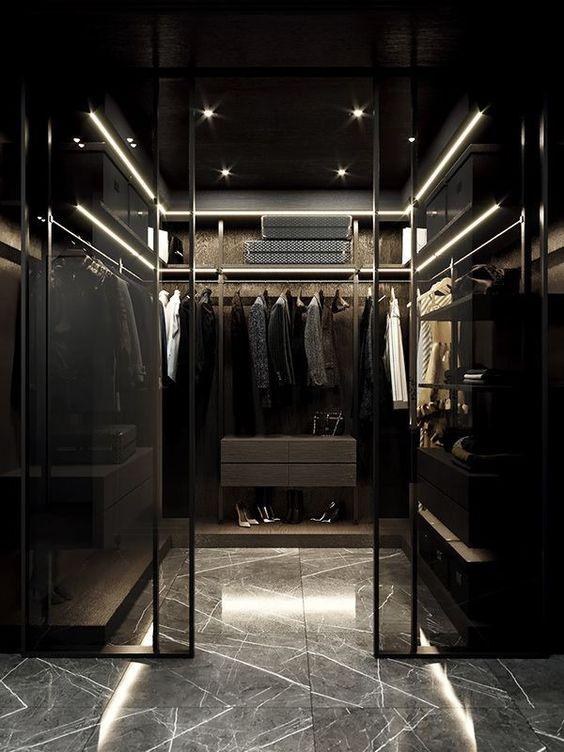 walk-in wardrobe in the masculine bedroom