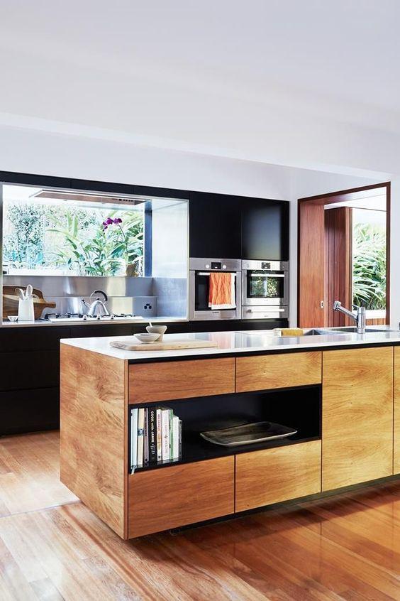 stylish Japanese kitchen with window splashback