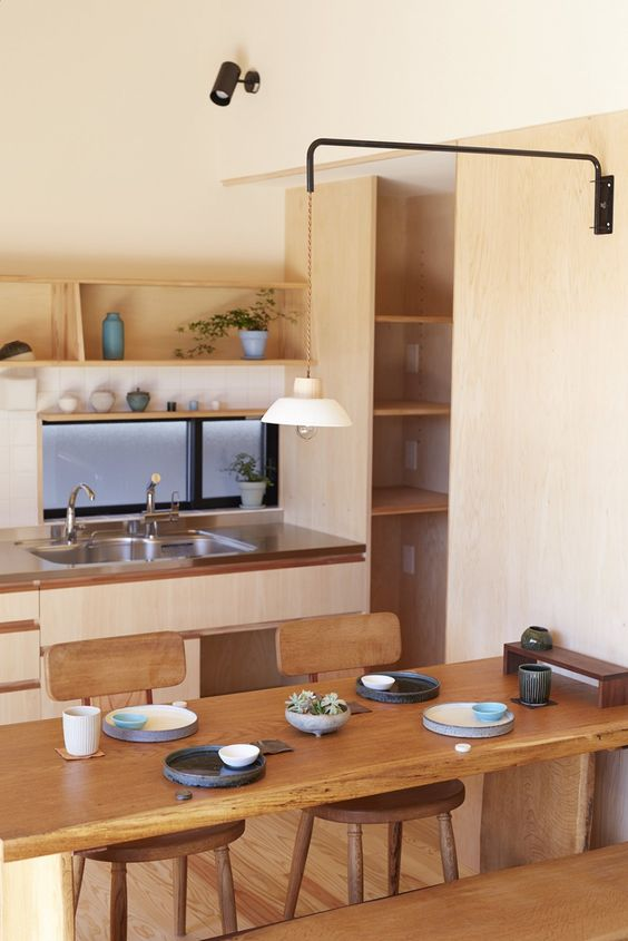 Beautiful Japanese kitchen with wooden accent decoration