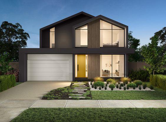 wood color scheme for a statement double-storey house design